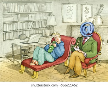 A guy on the therapist's bedside the psychologist has a mail snail in place of his head