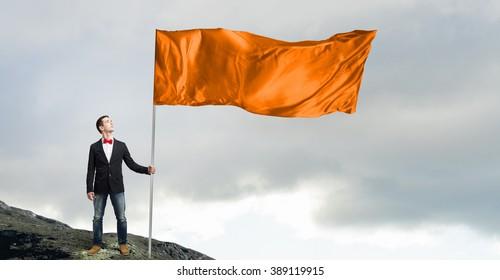 Guy with orange flag