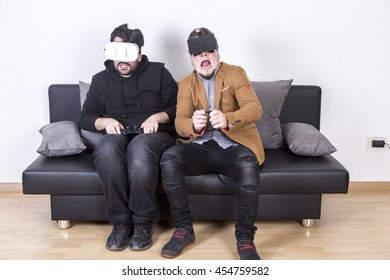 Guy playing with VR glasses experience