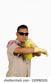 Guy pointing at the camera with a bottle of cleaning product