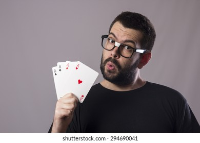 Guy with poker card
