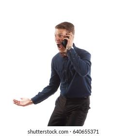 Guy screaming on phone