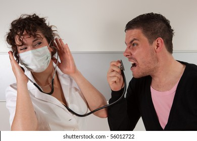 Guy screaming in stethoscope