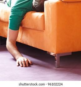 guy sleeping on the sofa