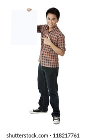 A guy smiling holding a white board against white background