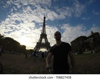 Guy Taking a Selfie in Paris, France