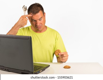 Guy trying to uninstall cookies, a computer dummy concept