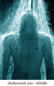 Guy under an outdoor shower