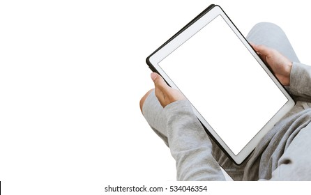A guy using digital tablet, copy space on screen, isolated on white background