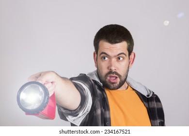 Guy using lantern