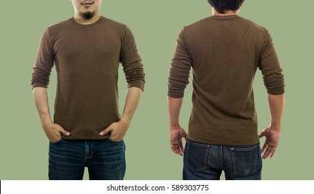 A guy wearing blank crew neck long t-shirt while standing on the green background, isolate include clipping path, fashion mockup and designer concept, front and back side