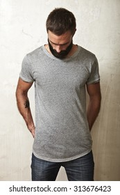 Guy wearing blank t-shirt