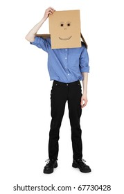 The guy wore a head box with a painted face