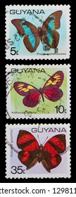 GUYANA - CIRCA 1971: A set of postage stamps printed in GUYANA shows butterfly, series, circa 1971