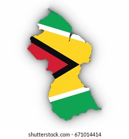 Guyana Map Outline with Guyanese Flag on White with Shadows 3D Illustration