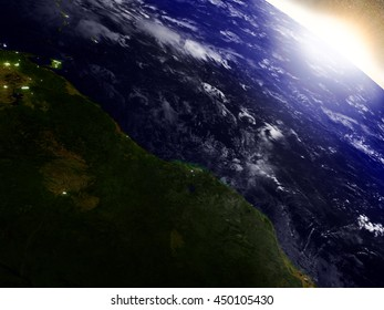 Guynea and Suriname region from Earth's orbit in space during sunrise. 3D illustration with highly detailed realistic planet surface. Elements of this image furnished by NASA.