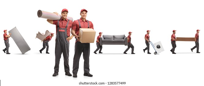 Guys from a moving company carrying home appliences and furniture isolated on white background