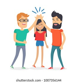 Guys and woman dressed in T-shirts clapping hands together above heads.  illustration banner in cartoon style isolated on white. Best friends girl and boys spend fun time, friendship day concept