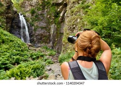 Gveleti Small Waterfalls being in a Dariali Gorge near the Kazbegi city in the mountains of the Caucasus, Geprgia