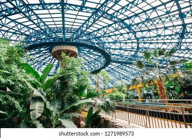 Gwacheon, Korea - April 9, 2018 : Tropical botanical garden at Seoul grand park zoo