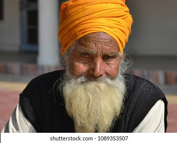 GWALIOR, INDIA - DEC 21, 2014: Very old Sikh community leader with white beard and yellow Sikh turban (dastar) poses for the camera, on Dec 21, 2014.