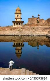Gwalior, Madhya Pradesh, India - January 12, 2019 : Bheem Singh Rana Ki Chhatri, Gwalior fort.