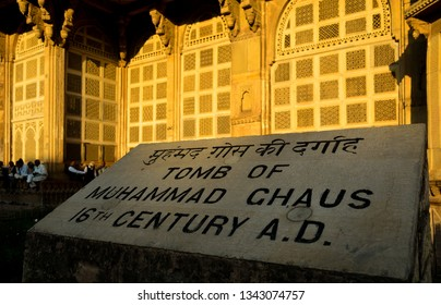 Gwalior, Madhya Pradesh, India - March 2019: Tomb of Muhammad Ghaus, a Sixteenth century Sufi saint and teacher of Tansen.