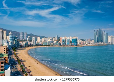 Gwangalli Beach in Busan, South Korea. Aerial view