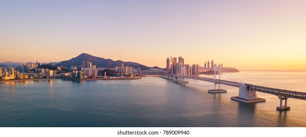 Gwangan Bridge and Haeundae aerial view at Sunrise, Busan, South Korea