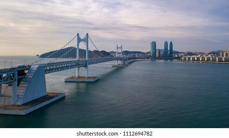 Gwangan Bridge and Haeundae, Busan City, South Korea.