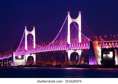 GwangAn Bridge and Haeundae at night in Busan,Korea