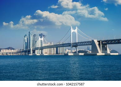 GwangAn bridge and Haeundae sea in Busan, South Korea.