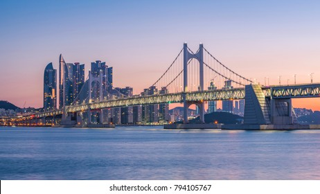 Gwangan Bridge and Haeundae at Sunrise, Busan City, South Korea.