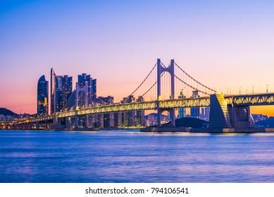 Gwangan Bridge and Haeundae at Sunrise, Busan City, South Korea.