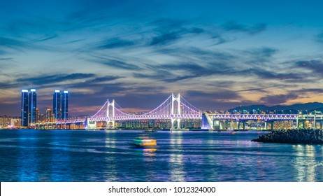 Gwangan Bridge and Haeundae at Sunset, Busan City, South Korea.
