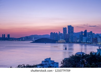 gwangan bridge and skyline of haeundae in busan