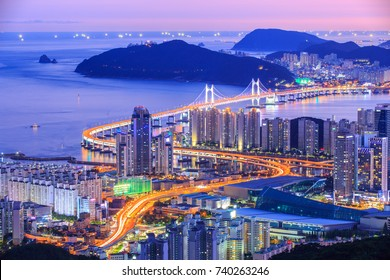 Gwangan Daegyo Bridge at Busan City Night Scape in south korea