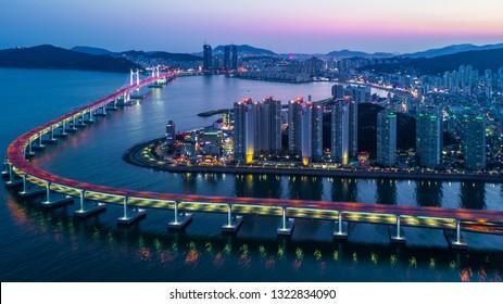 Gwangandaegyo bridge the famous bridge in busan and and busan city skyline, South Korea.