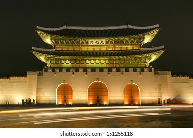 Gwanghwamun gate of Gyeongbokgung palace of seoul south korea at night