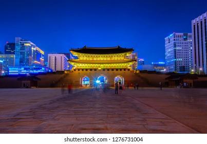 gwanghwaun gate in night at seoul south korea