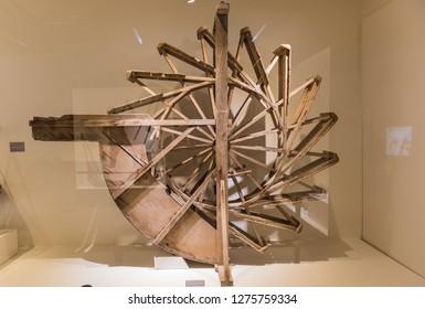 Gwangju, Gwangju Jeollamando/South Korea- 01 06 2019: Gwangju Municipal Folklore Museum, Water Wheel Model