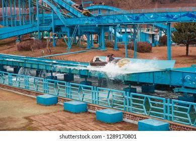 Gwangju, Gwangju Jeollamando/South Korea- 01 20 2019: Gwangju Family Land at Uchi Park water slide