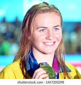 Gwangju, South Korea - Jul 21, 2019. Ariarne Titmus (AUS) won the women's 400m world title and became the second woman to beat Katie Ledecky (USA) in a FINA swimming world championships final.
