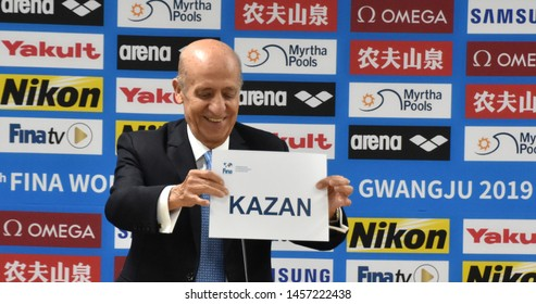 Gwangju, South Korea - Jul 21, 2019. Julio Maglione, President of FINA, presents the name of Kazan during the 2019 FINA World Swimming Championships. Kazan will be the hosts for the 2025 Championships