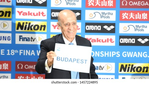 Gwangju, South Korea - Jul 21, 2019. Julio Maglione President of FINA presents the name of Budapest during the 2019 FINA World Swimming Championships. Kazan will be the host for the 2027 Championships