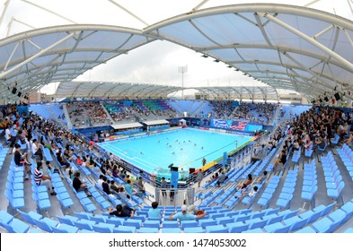 Gwangju, South Korea - July 21, 2019. Inside the Nambu University Municipal Aquatics Center temporary pool, the home of waterpolo matches during the FINA Waterpolo World Championship.