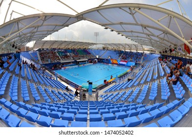 Gwangju, South Korea - July 22, 2019. Inside the Nambu University Municipal Aquatics Center temporary pool, the home of waterpolo matches during the FINA Waterpolo World Championship.