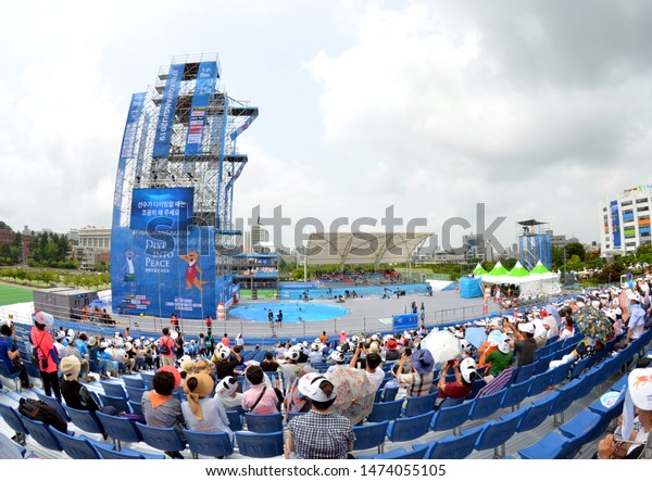 Gwangju, South Korea - July 22, 2019. At the Chosun University temporary diving platform, the home of high diving competition during the FINA High Diving World Championship.