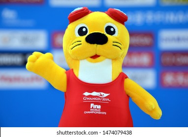 Gwangju, South Korea - July 23, 2019. Dari female otter mascot of the FINA Swimming Championships on the table of the press conference room.