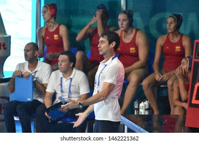 Gwangju, South Korea - July 26, 2019. OCA GAIA Miguel head coach of the Spanish team. Spain played against USA in the Final of the FINA Women Waterpolo World Championship.